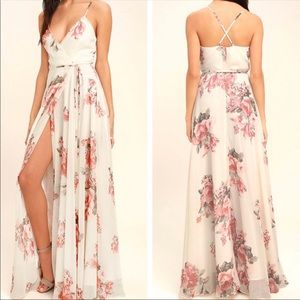 Lulu's Elegantly Inclined Floral Maxi Dress